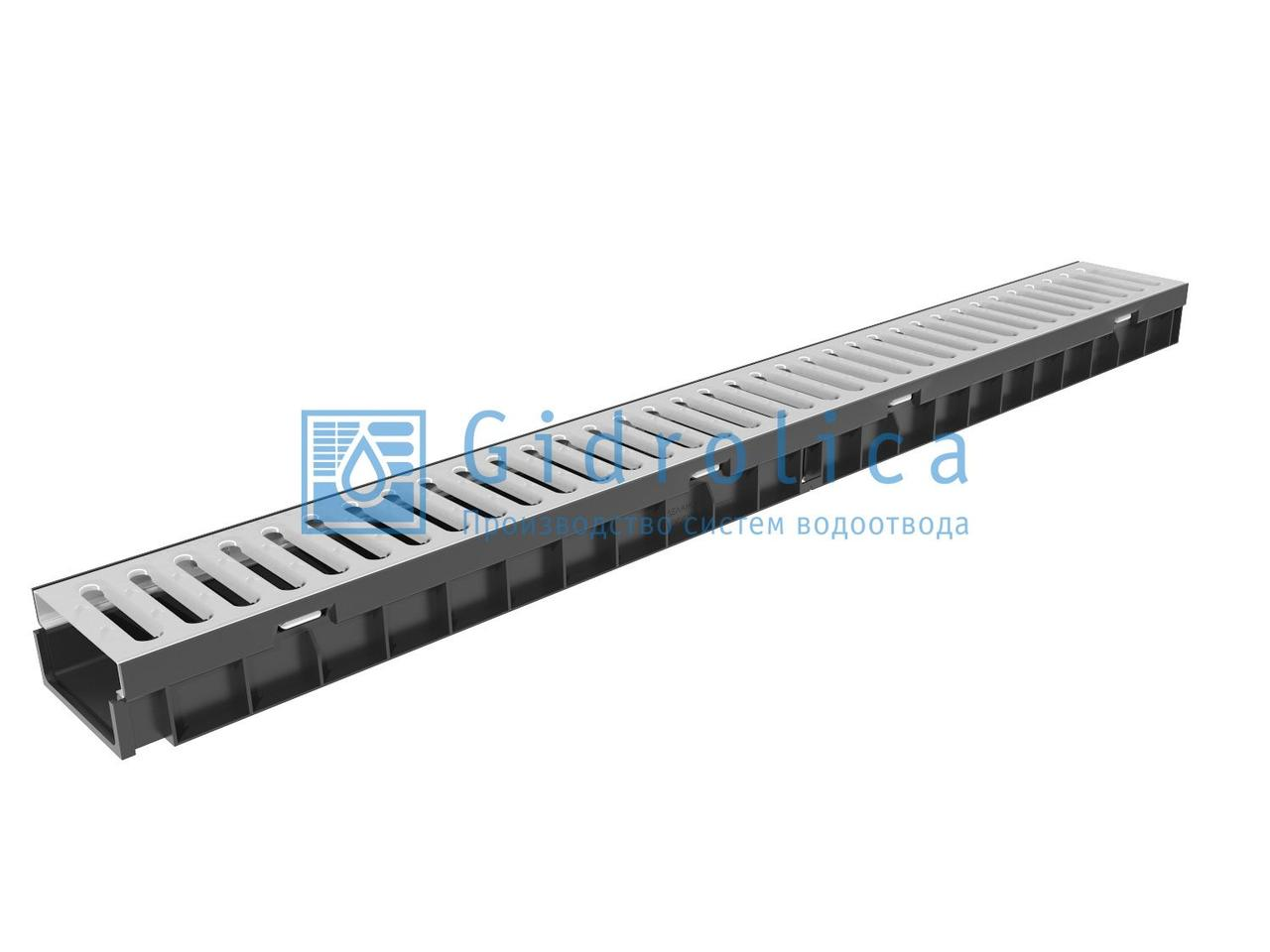 Комплект Gidrolica Light: лоток водоотводный ЛВ -10.11,5.5,5 - пластиковый  с решеткой РВ -10.10,8.100 стальной оцинкованной, кл. A15