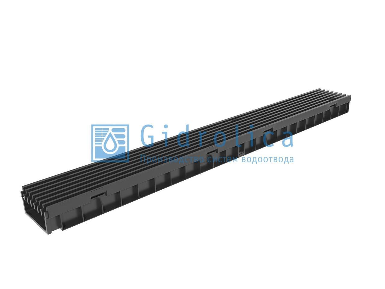 Комплект Gidrolica Light: лоток водоотводный ЛВ -10.11,5.5,5 - пластиковый  с решеткой РВ- 10.11.50 пластиковой ячеистой, кл. A15