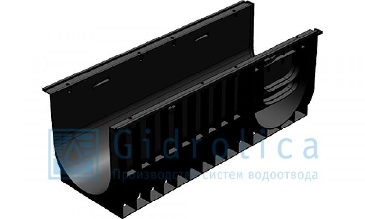 Комплект Gidrolica Light New: лоток водоотводный ЛВ -10.11,5.5,5 - пластиковый  с решеткой РВ- 10.11.50 пластиковой ячеистой, кл. A15