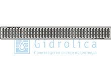 Комплект Gidrolica Light: лоток водоотводный ЛВ -10.11,5.9,5 - пластиковый  с решеткой РВ -10.10,8.100 стальной оцинкованной, кл. A15