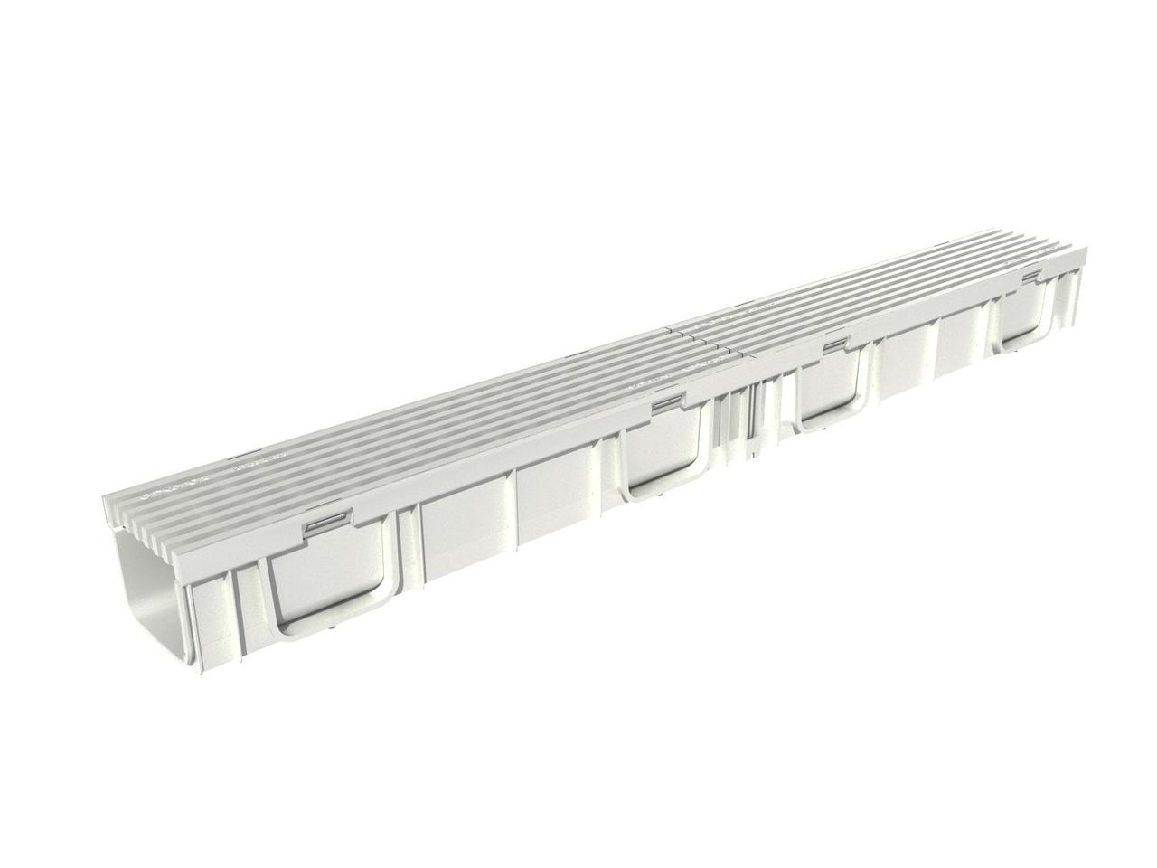 Комплект Gidrolica Light: лоток водоотводный ЛВ -10.11,5.9,5 - пластиковый  с решеткой РВ- 10.11.50 пластиковой ячеистой, кл. B125