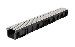 Комплект Gidrolica Light: лоток водоотводный ЛВ-30.38.28 - пластиковый c решеткой РВ -30.37.100 ячеистой стальной оцинкованной, кл. А15