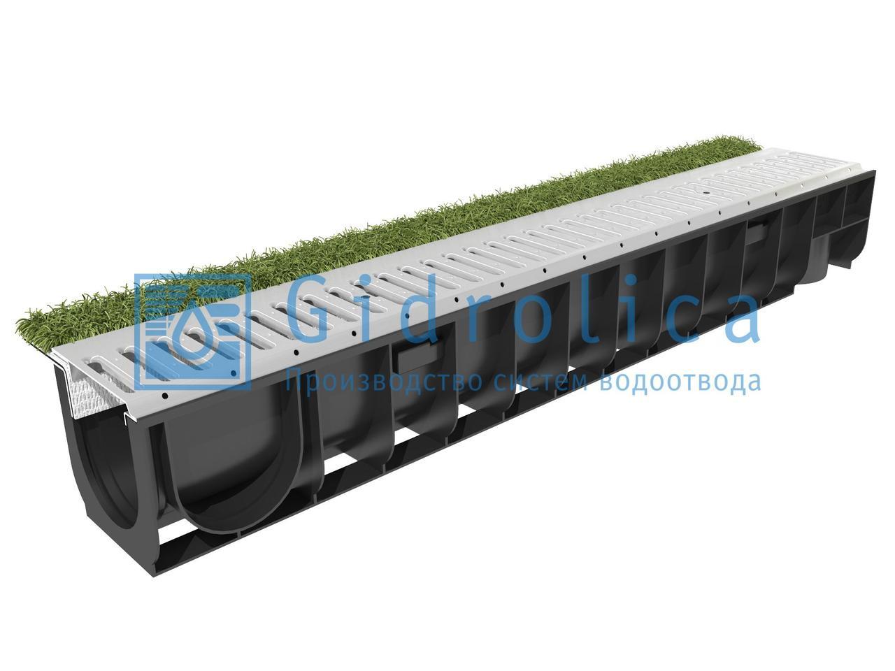 Комплект Gidrolica Sport: лоток водоотводный ЛВ-10.14,5.13,5 пластиковый с решеткой РВ-10.14,2.100 стальной оцинкованной, кл.А15