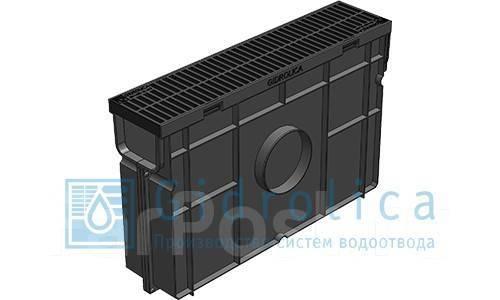 Комплект Gidrolica Light: пескоуловитель для пластиковых лотков ПУ 10.11,5.32 - пластиковый с  решеткой РВ- 10.11.50 пластиковой, кл. A15