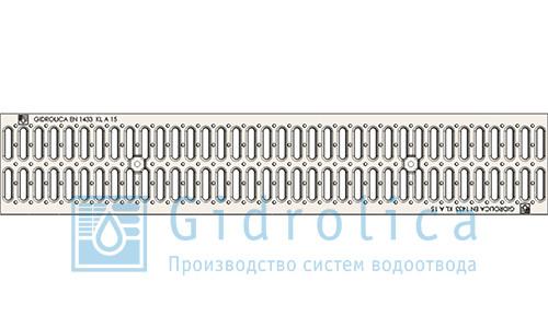 Решетка водоприемная Gidrolica Standart РВ-10.13,6.100 - штампованная стальная оцинкованная с отверстиями для крепления, кл. А15