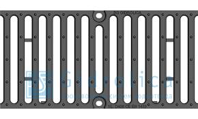 Решетка чугунная щелевая DN 100, 500/155/7, Кл. C 250 кН (BGF, BGU), с пружинным крепежом