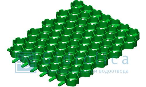 Решетка газонная Gidrolica Eco Pro РГ-60.60.4 - пластиковая зеленая