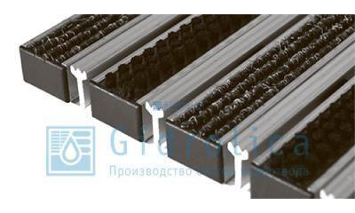 Придверная решетка Евро широкий скребок+текстиль+щётка 390х590
