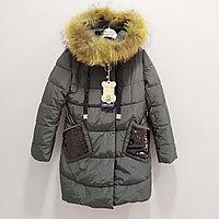 Куртка зимняя для девочек от 8 до 16 лет, хаки.