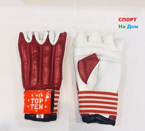 Перчатки шингарты для боевых искусств Top Ten Размер S (цвет красный, белый), фото 2