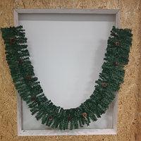 Новогодняя зеленая хвойная гирлянда (ветка) с шишками и рябиной - 270 см ( хвоя: плёнка ПВХ)