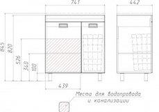 """""""Elen 75"""" Cube без ящика и корзиной д/ белья  (правый), фото 3"""