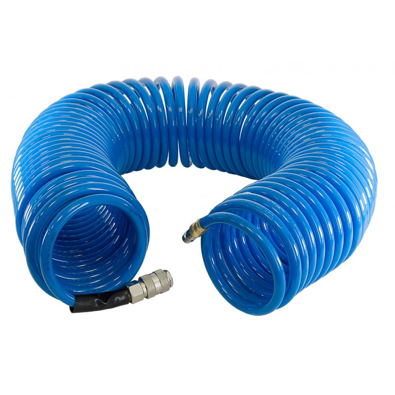 Полиуретановый шланг спиральный с фитингами. Fubag 8x12мм 10м