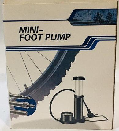 Насос ножной с манометром Mini foot pump (цвет красный), фото 2