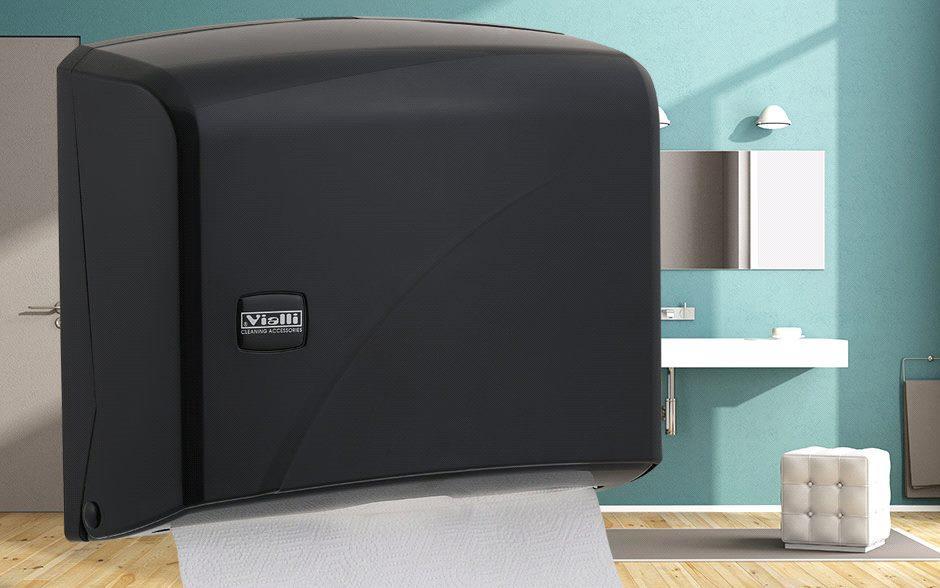 Диспенсер для листовых бумажных полотенец Z сложения Vialli K 1 В (чёрного цвета)