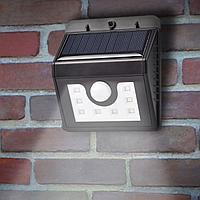 Светильник светодиодный, настенный на солнечной батарее с датчиком движения и освещенности, 8 LED LAMPER