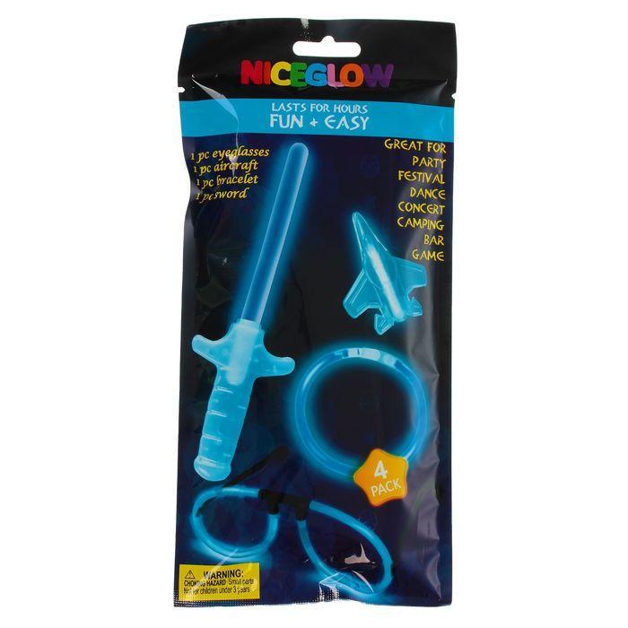 Набор неоновых аксессуаров 4 предмета: меч, игрушка, очки, браслет