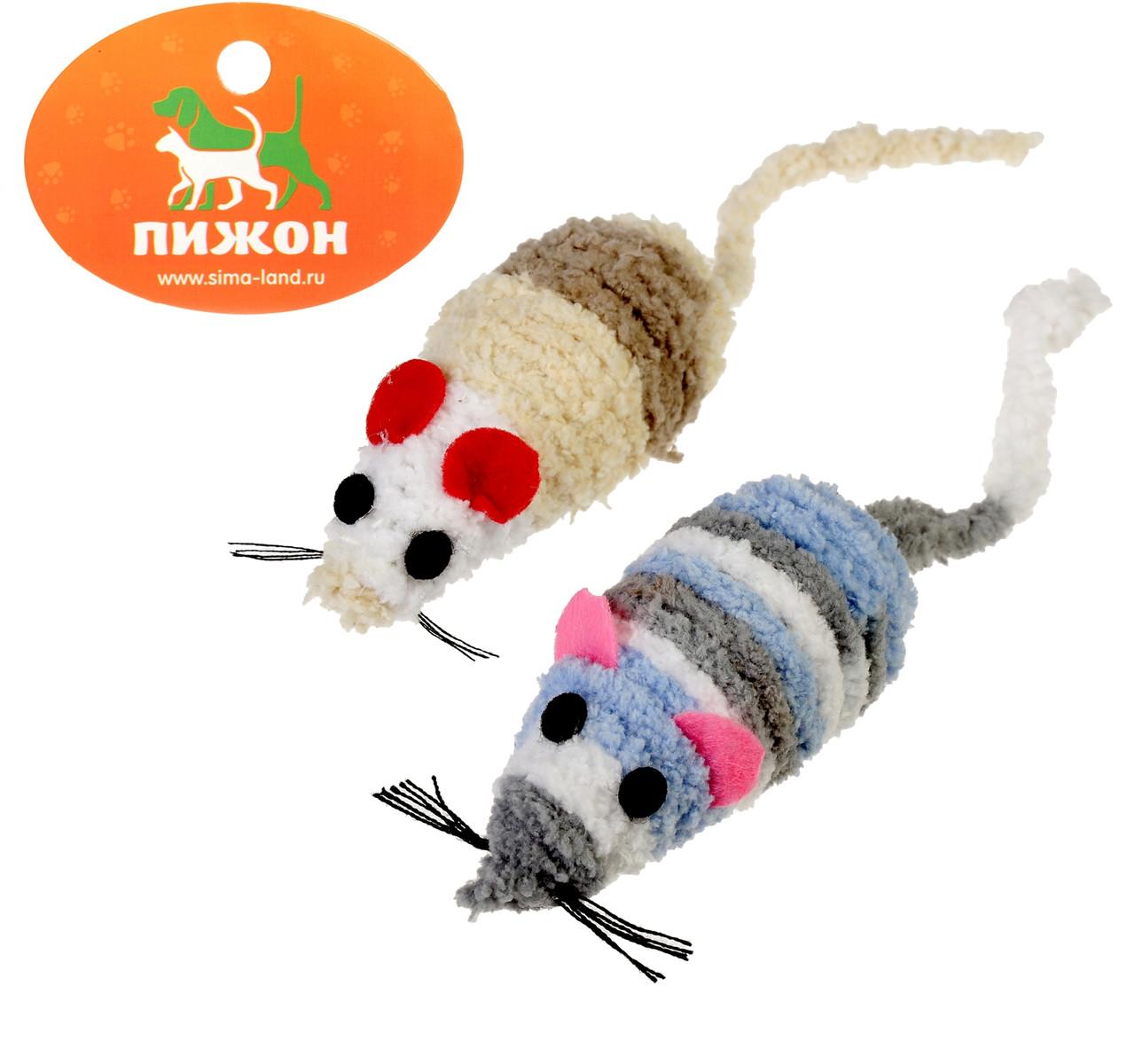 Игрушка для кошек Мышь-погремушка махровая, 7 см