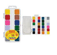 Акварель Каляка-Маляка, 24 цвета, квадратный кювет, пластиковая упаковка