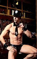 Виниловый костюм полицейского (кепка, галстук, браслеты, трусы)