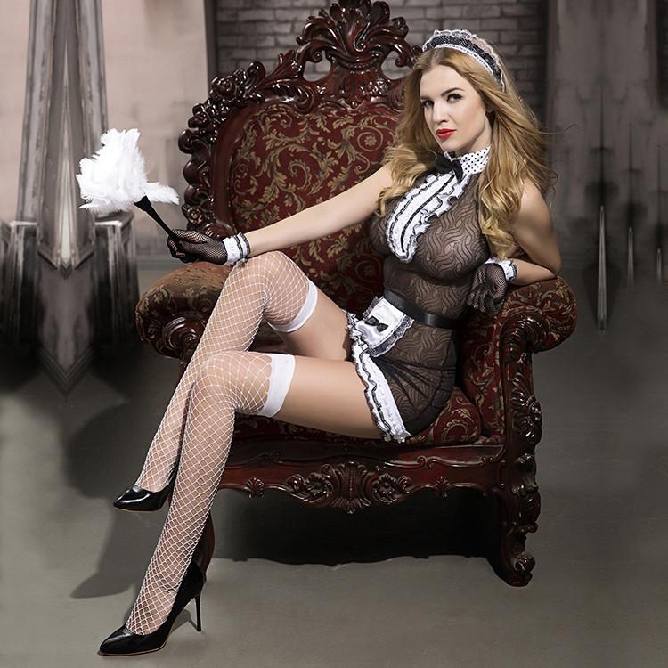 """Ролевой костюм """"Sweet maid"""" (платье, трусики, перчатки, ободок, чулки, щётка)"""