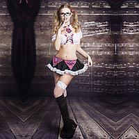 "Костюм ""Соблазнительная студентка"" ( юбка, топ, галстук, очки, чулки), фото 1"