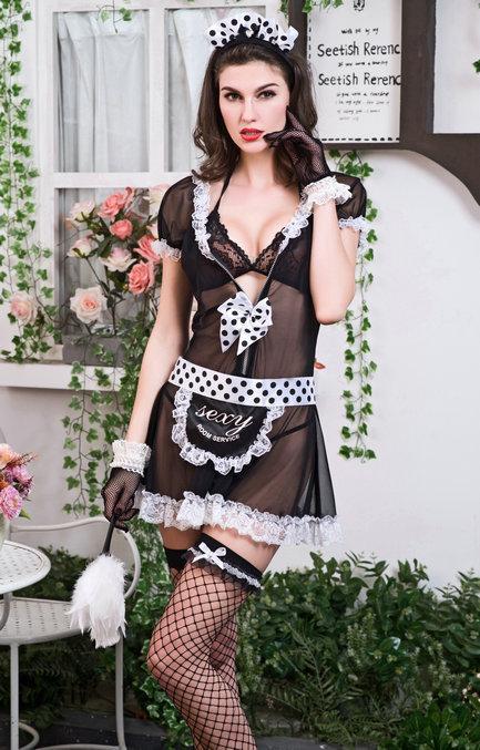 Костюм горничной (платье, бра, перчатки, браслеты, чулки, ободок, щётка, трусики)