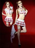 Ролевой костюм школьницы (юбка, топ, галстук, очки, чулки)