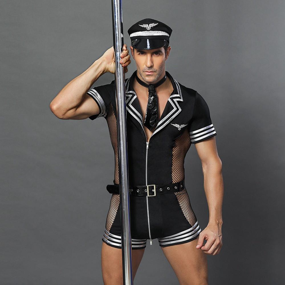 """Эротический ролевой костюм """"Господин офицер"""" (боди, галстук, ремень, кепка)"""