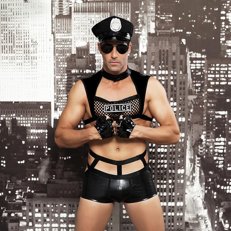 """Ролевой костюм """"Policeman"""" (шорты, наручники, топ, очки, перчатки, кепка)"""
