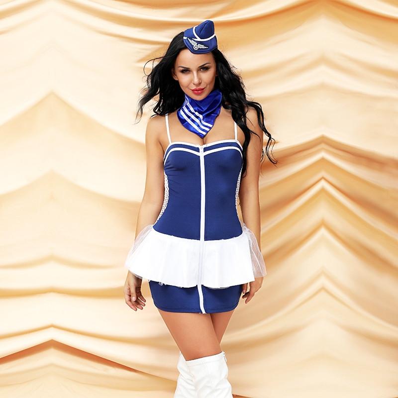 "Костюм ""Sweet stewardess""  (шляпка, шарф, юбка, блузка, трусики)"