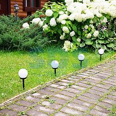Садовый светильник на солнечной батарее (белый шар) (SLR-GL-100)  LAMPER