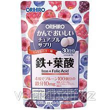 Жевательные витамины и минералы, Железо + Фолиевая кислота, ORIHIRO. С ягодным вкусом, 120 шт на 30 дней*