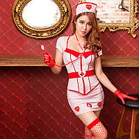 Костюм медсестры (юбка, блузка, ободок, стетоскоп, перчатки, чулки)