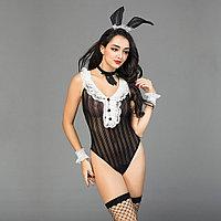 "Костюм ""Sexy bunny"" ( боди, чулки, ушки, манжеты, лента на шею)"