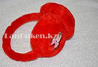 Меховые наушники детские с принтом Мики Маус Мини красные