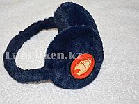 Меховые наушники детские с принтом Железный человек синие