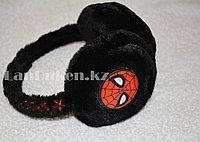 Меховые наушники детские с принтом Человек Паук черные