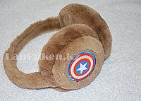 Меховые наушники детские с принтом Капитан Америка коричневые