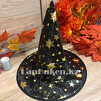 Шляпа ведьмы на Хэллоуин (Halloween)  черная с золотистым рисунком звезд (высота 34 см)