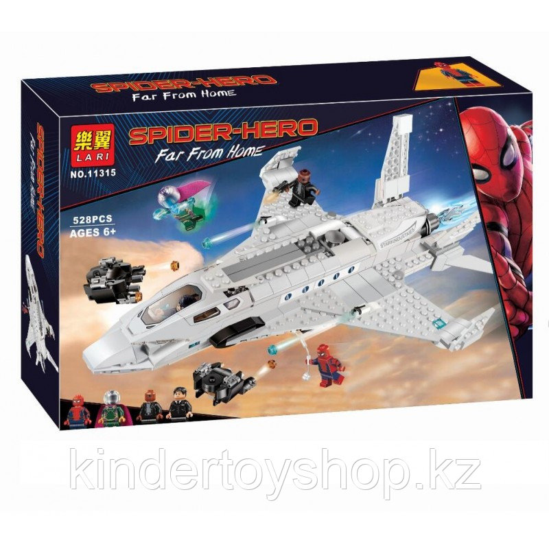 Конструктор  bela 11315 Реактивный самолёт Старка и атака дрона Аналог Lego: 76130