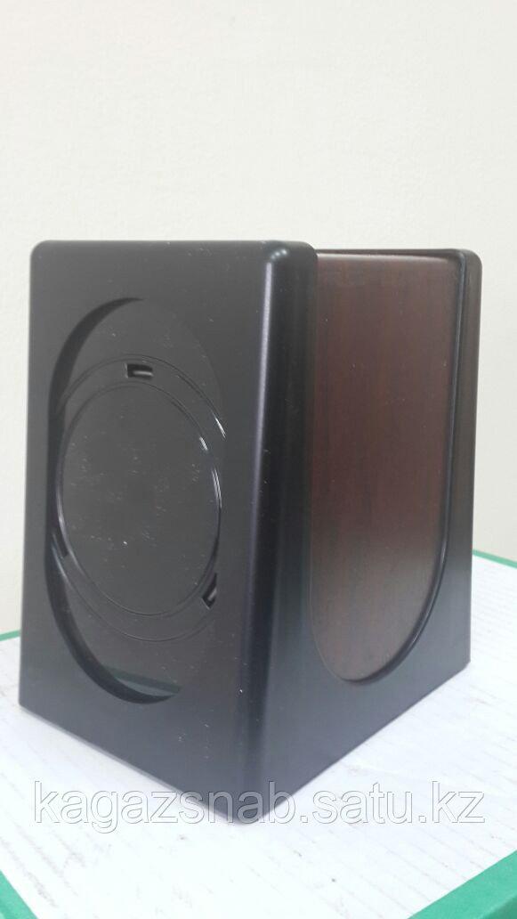 Диспенсер для салфеток настольный (0680 черный с деревом) - фото 1