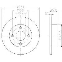 Тормозные диски Nissan Micra K11 (00-03, передние, невентилируемые, Meyle )