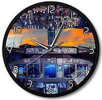 Часы настенные кабина самолета металл