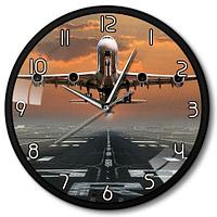 Часы настенные самолет на взлете металл