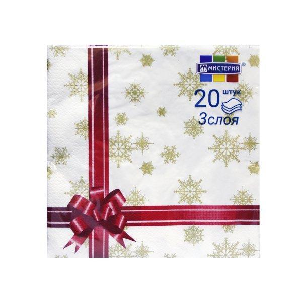 """Салфетки 33х33см, 3 сл., """"Подарок (красная лента)"""", Бумага, 20 шт"""