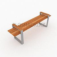 Скамейка деревянная подлокотники и ножки в форме геометрии