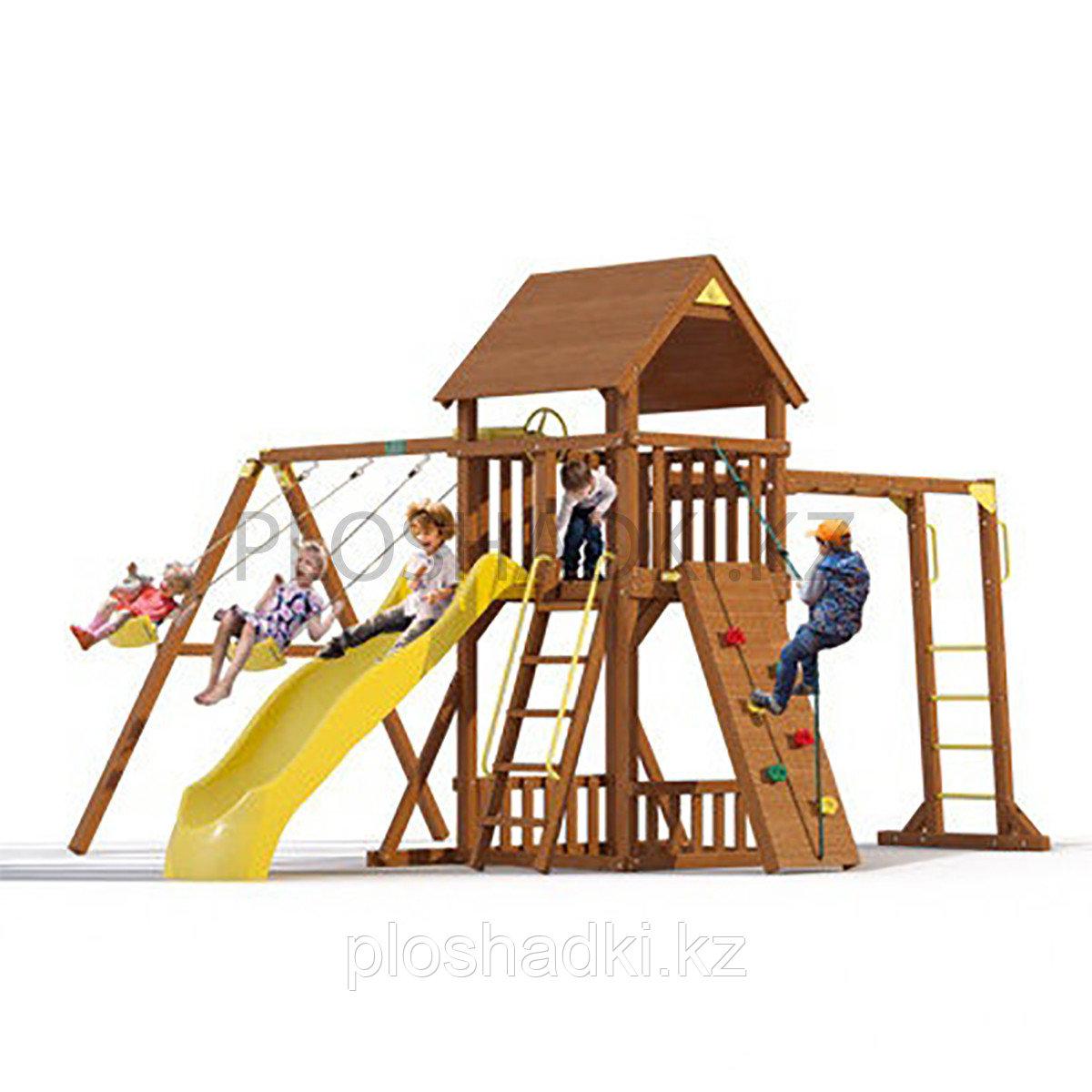 """Детская площадка """"Прага с рукоходом, горкой, качелями, лестницей, крышей деревянной"""