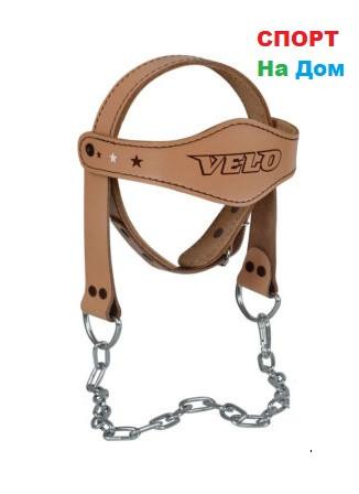 Тренажер для шеи упряж Velo (кожаный) - фото 1