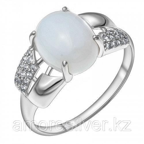 Серебряное кольцо с фианитом синт. и лунным камнем синт. MASKOM размеры 17 - есть комплект  100-1354-MNS